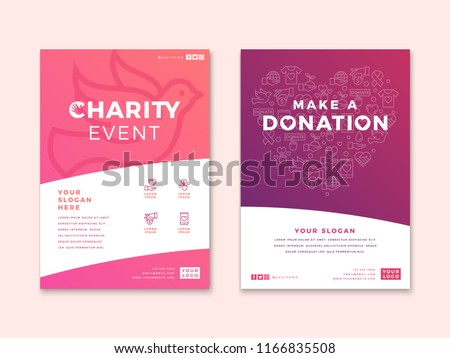 Charity and donation poster design templates with vector line icon elements set in heart form. Card flyer poster illustration with your text for volunteer center, fundraising event, organization.
