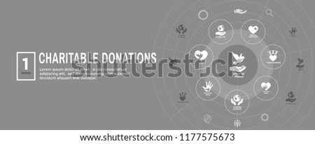 Charity and relief work - Charitable Giving Web banner - icon set
