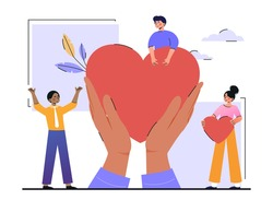 Charity and volunteering activity concept. Hands hold a big loving heart. Characters give their support to people in need. Cartoon modern flat vector illustration isolated on a white background