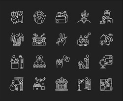 Charity chalk white icons set on black background. Food donation. Volunteering for work. Support for poor people. Environment preservation. Social activism. Isolated vector chalkboard illustrations
