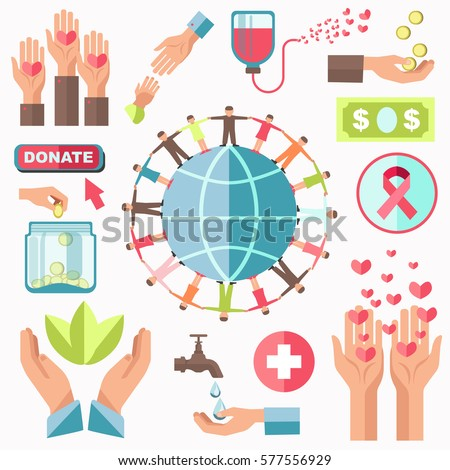 charity concept vector set