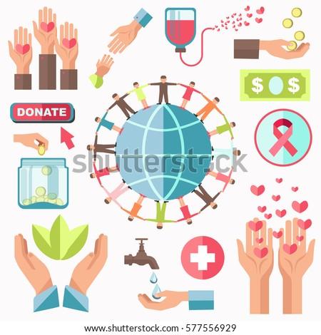 charity concept vector set