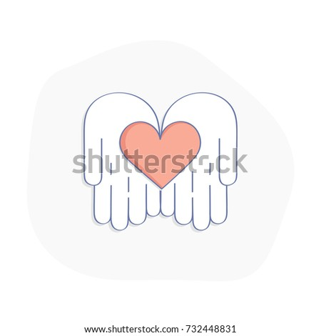 Charity, Donate, Fundraising. Graphic Elements for Nonprofit Organizations and Donation Centre. Hands give Love. Isolated vector illustration on white background.