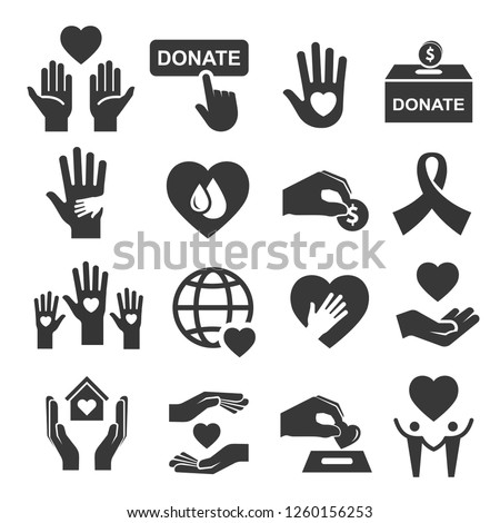 Charity donation and help symbol icon set. Organization image, money to help people, sick, poor, with disability. Vector line art illustration on white background
