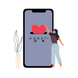 Charity donation online smartphone from home with woman put heart love and stay home illustration. Hand donating money by online payments charity flat vector.