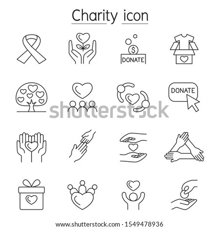Charity, Donation, Volunteer icon set in thin line style