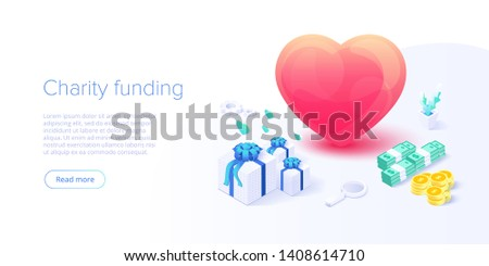Charity fund or care isometric vector concept. Volunteer community or donation metaphor illustration. Web banner layout for people help or support.