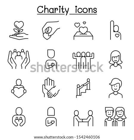 Charity, Kindness, Friendship, care icon set in thin line style