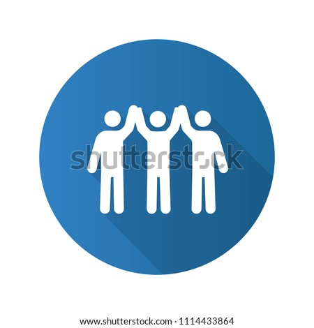 Charity organization flat design long shadow glyph icon. Unity in diversity. People holding hands up. Teamwork. Charitable foundation. Community. Friendship. Vector silhouette illustration