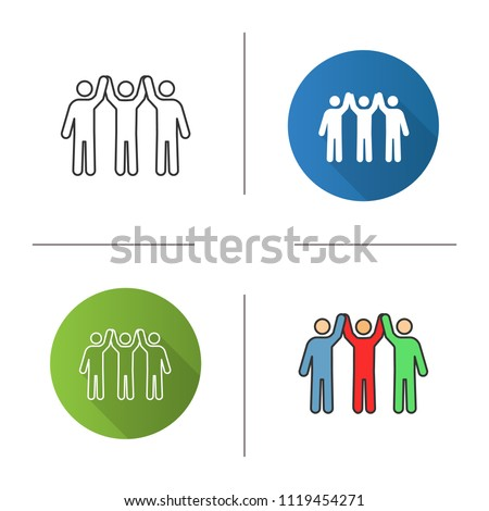 Charity organization icon. Flat design, linear and color styles. Unity in diversity. People holding hands up. Teamwork. Charitable foundation. Community. Friendship. Isolated vector illustrations