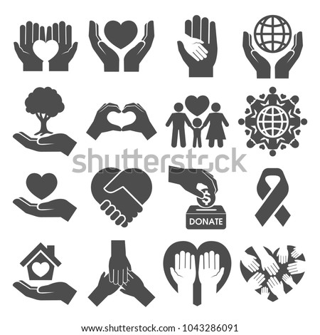 Charity Silhouette, Donation and Peace Icons
