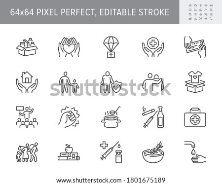 Charity, social worker line icons. Vector illustration included icon as donate food, humanitarian aid, pantry, homeless shelter outline pictogram for volunteer. 64x64 Pixel Perfect Editable Stroke.