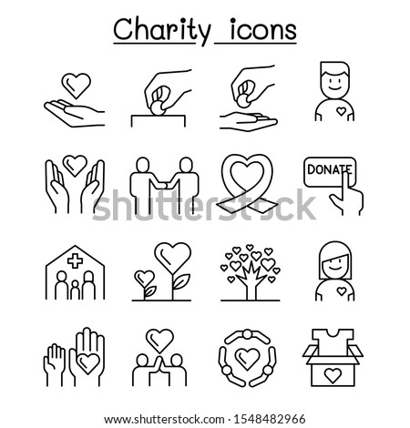 Charity, volunteer,sympathy an helping icon set in thin line style