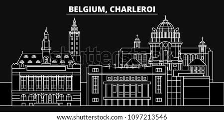 Charleroi silhouette skyline. Belgium - Charleroi vector city, belgian linear architecture, buildings. Charleroi travel illustration, outline landmarks. Belgium flat icons, belgian line banner