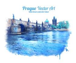 Charles bridge in Prague, Czech Republic. Vector art. EPS 10.