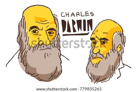 charles darwin in yellow and