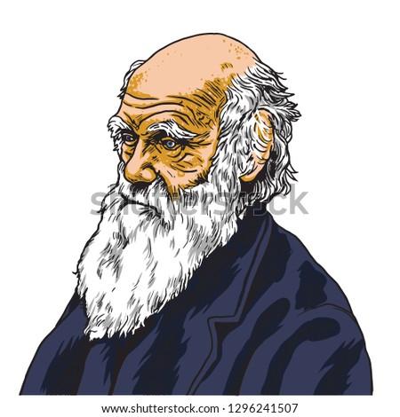 charles darwin vector cartoon