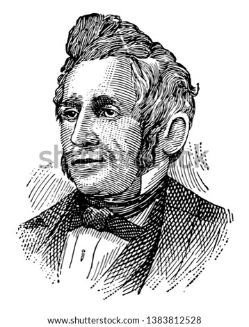 Charles Goodyear, 1800-1860, he was an American chemist and manufacturing engineer who developed vulcanized rubber, vintage line drawing or engraving illustration