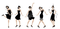 Charleston Party.black dress dancing girls  silhouette .Gatsby style set. Group of retro woman dancing charleston.Vintage style. retro silhouette dancer.1920 party vector background.Swing dance girl