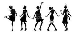 Charleston Party. Gatsby style set. Group of retro woman dancing black isolated silhouette charleston.Vintage style. retro dancer.1920 party vector background.Swing dance girl.
