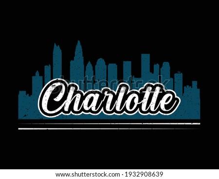 Charlotte North California  t shirt design. Vector Illustration quotes. Design template for t shirt lettering, typography, print, poster, banner, gift card, label sticker, flyer, mug. Stock fotó ©