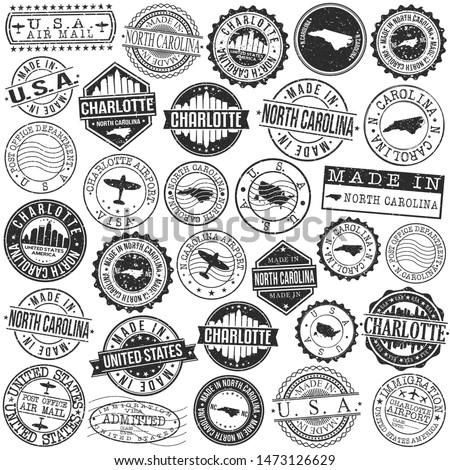 Charlotte North Carolina Stamp. Vector Art Postal. Passport Travel Design. Travel and Business Set.