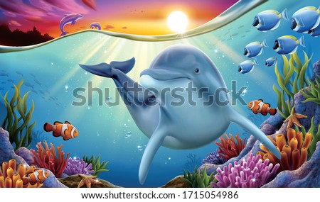 charming dolphin playing at