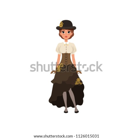 charming girl in steampunk