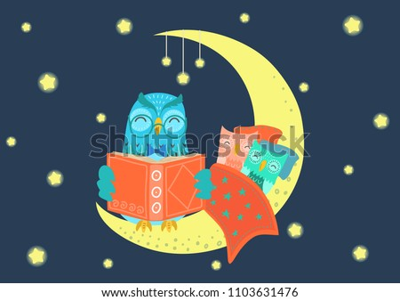 Charming owl reading book to owlets at night on the moon under starry sky. Father and children concept. Bedtime, story-time vector illustration. Stock photo ©