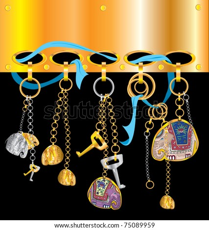 charms key chain elephants - stock vector