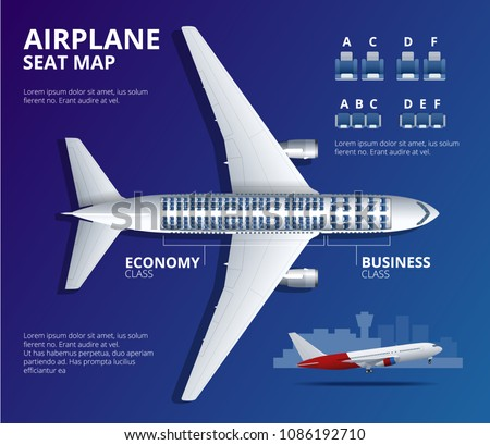 Chart airplane seat, plan, of aircraft passenger. Aircraft seats plan top view. Business and economy classes airplane indoor information map. Vector illustration of Plane