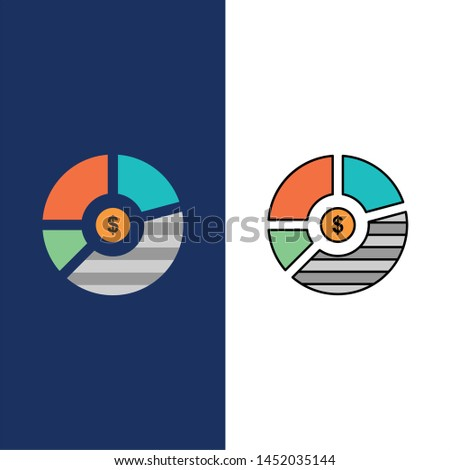 Chart, Analysis, Bar, Business, Graph, Seo, Statistics  Icons. Flat and Line Filled Icon Set Vector Blue Background