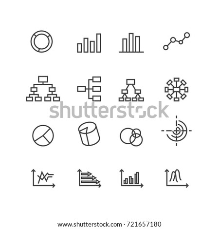 Chart and Diagram icons set, Vector