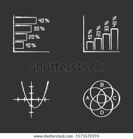 Chart and graph chalk icons set. Horizontal and vertical histogram with interest rates. Function curve. Venn diagram with indexes. Trigonometry. Business. Isolated vector chalkboard illustrations