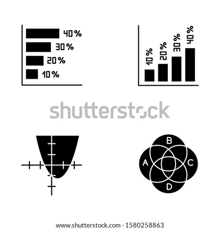 Chart and graph glyph icons set. Horizontal and vertical histogram with interest rates. Function curve. Venn diagram. Trigonometry. Business. Silhouette symbols. Vector isolated illustration