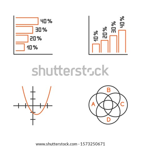 Chart and graph linear icons set. Histogram. Function curve. Venn diagram. Trigonometry study. Business. Thin line contour symbols. Isolated vector outline illustrations. Editable stroke