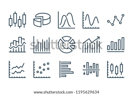 Chart and statistics line icons. Vector icon set.
