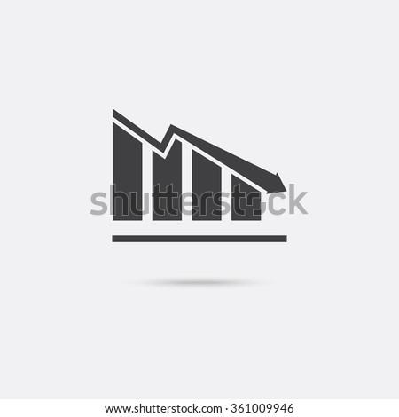 Chart icon. Decline graph symbol.