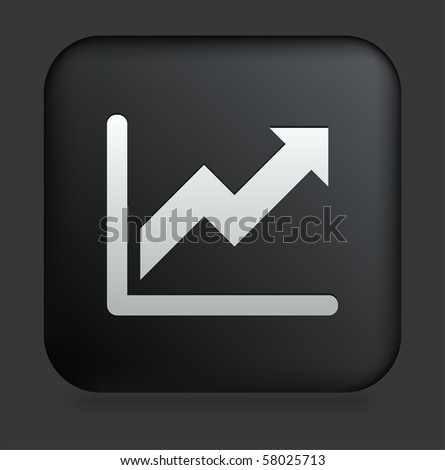 Chart Icon on Square Black Internet Button Original Illustration