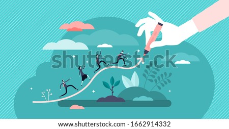 Chart line concept, flat tiny business people, vector illustration. Abstract company progress growth graph with corporate people following trend. Success data forecast and growing earnings strategy
