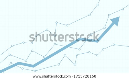 Chart or graph with arrow. Rising stock market or rise of economy. Stock chart or graph. Business, profit growth concept. Vector illustration