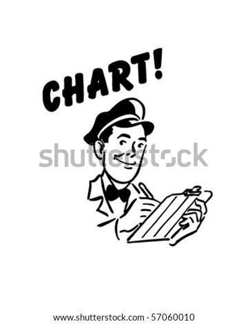 Chart - Service Station Mechanic - Retro Clip Art - stock vector