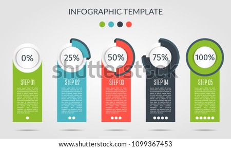 Chart template in modern style. For infographic and presentation. Percentage infographic template five process. Vector illustration