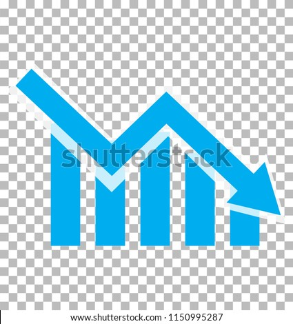 chart with bars declining. Chart icon on transparent background. loss chart. declining graph sign. negative trend symbol.