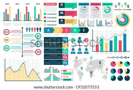 Charts and diagrams. Graphical colorful schemes infographic, rising and falling with percentages data financial analytic marketing infochart, presentation visualization vector isolated elements set