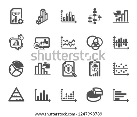 Charts and Diagrams icons. Report, 3D Chart, Block diagram and Dot Plot graph icons. Trend, Pyramid and Pie chart report symbols. Presentation infochart, process flow diagram. Quality design element