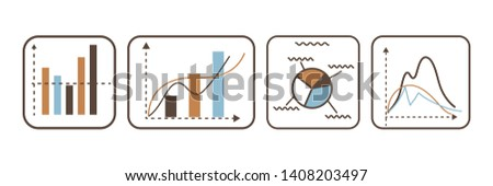 Charts and graphs vector linear illustrations set. Finance market growth, decline rates in schemes. Business data visualization, statistical analysis infographics diagrams isolated design elements