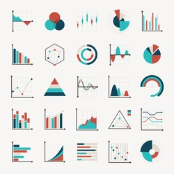 charts diagrams and graphs flat icons