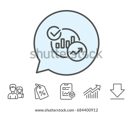 Charts, Statistics line icon. Report graph or Sales growth sign. Analytics data symbol. Report, Sale Coupons and Chart line signs. Download, Group icons. Editable stroke. Vector