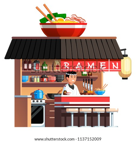 Chashu ramen bowl decorated Japanese on the go ramen noodles soup restaurant. Welcoming Asian chef cook standing at counter serving ready noodles & sushi. Japan fast food. Flat vector illustration
